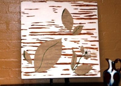 artwork_recycling_upcycling_painting on a sheet cardboard box_diy artwork_folk art_art with brown beige tan_the designers eye_interior design_artwork budget