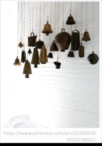 bells hanging from ceilng_3D wall art_interior design tucson_tde